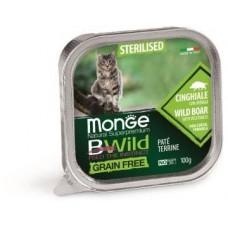 Влажный корм Monge Cat BWild GRAIN FREE для стерилизованных кошек, беззерновой, из кабана с овощами