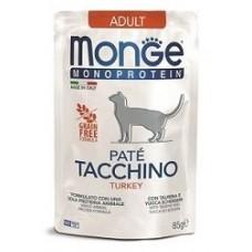 Влажный корм Monge Cat Monoprotein для взрослых кошек, из индейки