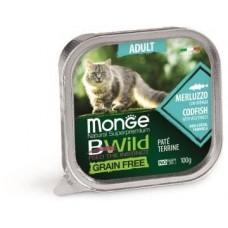 Влажный корм Monge Cat BWild GRAIN FREE для кошек, беззерновой, из трески с овощами