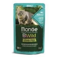 Monge Cat BWild GRAIN FREE для взрослых кошек, беззерновой, из трески с креветками и овощами