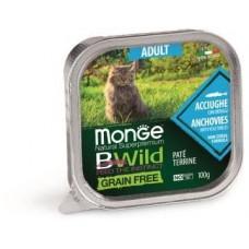Monge Cat BWild GRAIN FREE для взрослых кошек, беззерновой, из анчоусов с овощами