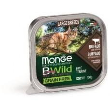 Влажный корм Monge Cat BWild GRAIN FREE для крупных кошек, беззерновой, из буйвола с овощами