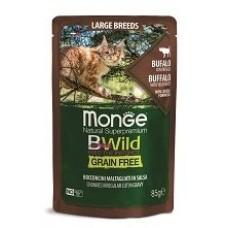 Влажный корм Monge Cat BWild GRAIN FREE для кошек крупных пород, из мяса буйвола с овощами, паучи 85 г