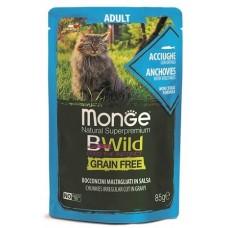 Влажный корм Monge Cat BWild GRAIN FREE для взрослых кошек, беззерновой, из анчоусов