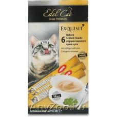 Edel Cat лакомства для кошек крем-суп Птица и Печень 6 шт