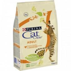 CAT CHOW корм для взрослых кошек с домашней птицей 15 кг