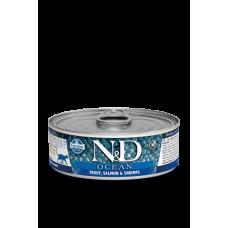 Farmina N&D Ocean консервы для кошек Форель, лосось и креветка 80 гр