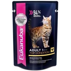 Eukanuba паучи корм для кошек c курицей в соусе 85 г