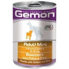 Gemon Dog Mini консервы для собак мелких пород кусочки курицы с рисом 415г