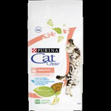 Cat Chow Sensitive корм для кошек с чувствительным пищеварением, птица и лосось 15 кг