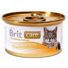 Brit Care для взрослых кошек с Тунец, морковь, горошек 80 гр