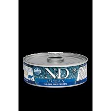 Farmina N&D Ocean консервы для кошек Лосось, треска, креветки 80 гр
