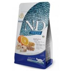 Farmina N&D LG, низкозерновой корм для взрослых кошек, треска с апельсином, спельта, овес
